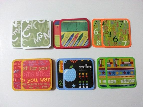 Mini Cards, School Cards, Teacher Cards, School Themed Mini Cards, Small Cards, Square Cards, 3X3 cards