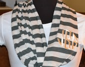 Monogrammed Infinity Scarf Olive Green and Oatmeal Stripe Knit Jersey