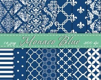 Monaco Blue Digital Paper Pack - Scrapbooking Paper, Blue Damask, Digital  Scrapbook , INSTANT DOWNLOAD
