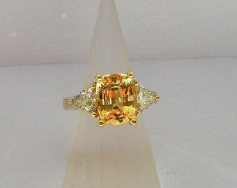 Incredible cushion cut yellow sapphire ring by Kay Knight Designs, yellow diamond, large yellow ring,,statement engagement ring,diamond ring