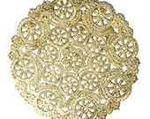 25 Gold 10 inch  paper doily, invitation trim, wedding decoration, paper craft trim, gold foil doilies