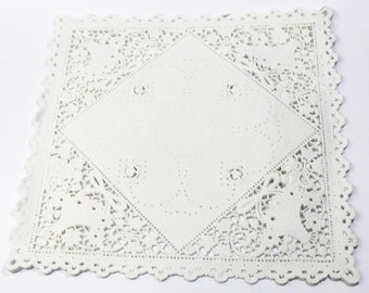 100 Square 10 inch white paper doilies, wedding invitation liners, paper craft supply, wedding decoration, party decoration