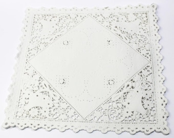 50 white square 10 inch paper doilies, basket design doily, paper craft trim, wedding decoration, paper embellishment