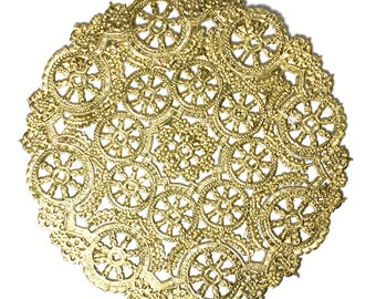 50 Gold 12 inch paper doilies, wedding trim, paper craft supply, gold placemats, party decoration Free Shipping