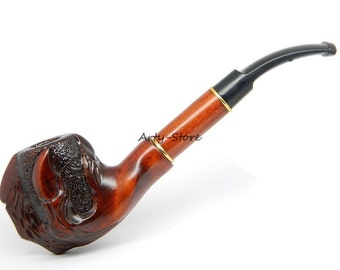 "Deluxe Tobacco Smoking pipe ""Eagle's Claw"" Carved of Pear Wood plus Pouch"