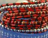 Wrap Bracelet Red leather, Silver and Red Jasper