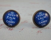 SPRING SALE Keep Calm and Carry On 12mm Round Blue and Brass Stud Earrings