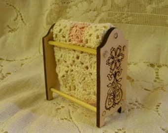 Quilt rack dollhouse miniature kit Build in ten minutes and finish to suit country victorian or shabby styles