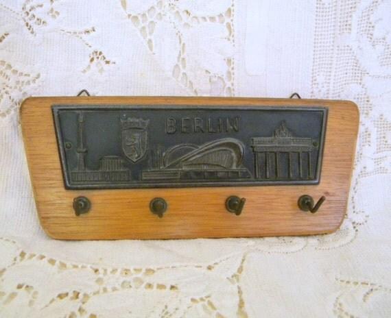 1957 Souvenir of Berlin Interbau Building Exposition wood and metal wall hook rack