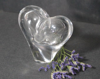 Vintage Art Glass Heart Vase
