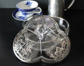 New Martinsville covered candy dish with Silver Decoration