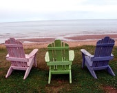 Beach Chair Notecard - Adirondack chairs, blue chair, green chair, pink chair, by the sea, Prince Edward Island - DabHands