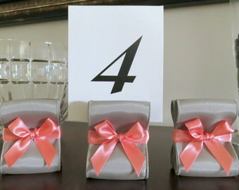 Table Number Holders - Wedding Decor - Ten (10) with Silver and Coral Satin Ribbon - Customize Your Colors