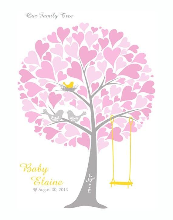 baby shower tree guest book print nursery wall art family tree