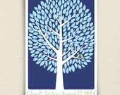 Personalized Guest Book Tree - The Modwik - A Peachwik Interactive Art Print - 200 guest sign in - Modern Tree Guestbook