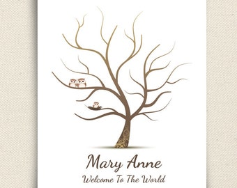 Fingerprint Baby Shower Tree - Thumb Print Guest Book -  Companion Owls and Nested Baby Owl -  Owletta - A Peachwik Print