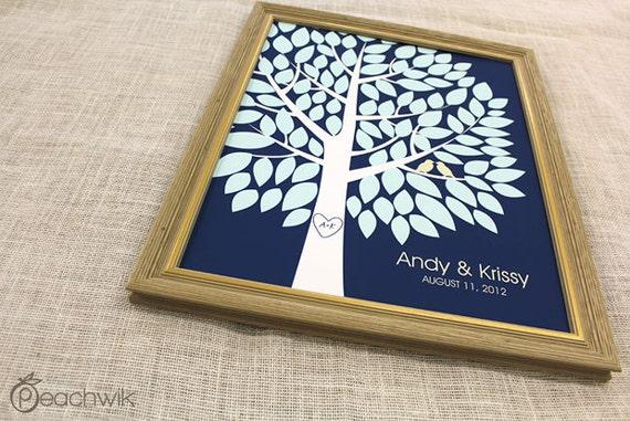 Unique Wedding Guest Book - The Wishwik Tree - A Peachwik Interactive Art Print - 100 guest sign in