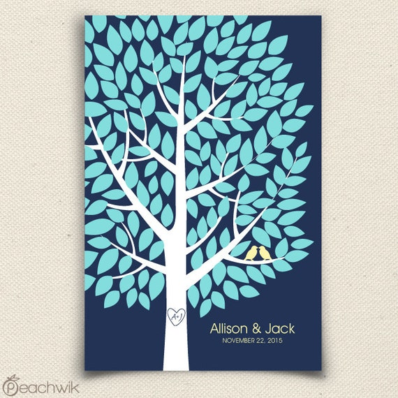 Wedding Guest Book Alternative - The Wishwik Tree - A Peachwik Interactive Art Print - 150 guest sign in