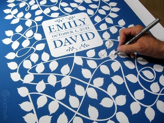 Wedding Guest Book Alternative - The Vinwik - A Peachwik Interactive Art Print - 150 guest sign in - romantic vineyard and winery weddings