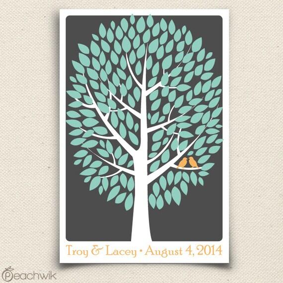 Wedding Guest Tree - The Modwik - A Peachwik Interactive Art Print - 150 guest sign in - Modern Tree Guestbook