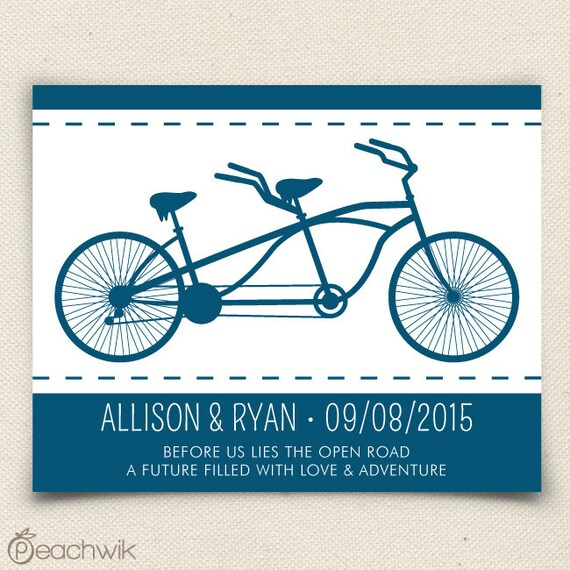Personalized Anniversary Wedding Gift - The Bikewik - A Peachwik Art Print - Tandem Bicycle Built For Two - 16x20 - Housewarming Gift