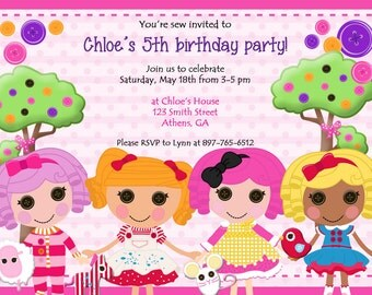 Lalaloopsy Birthday Party Invite.  Doll Party Invitation