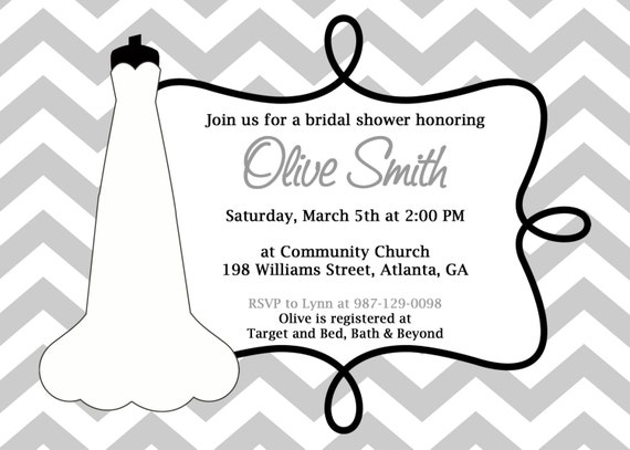 Printable Wedding Shower Invitation.  Bridal Shower Invite.  Printable DIY Invitation.