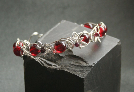Bloody Forest - cherry amber silver filled wire wrapped bracelet