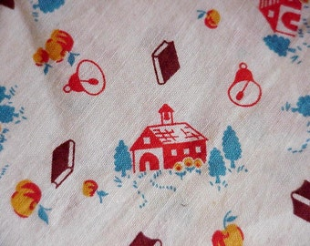 Vintage 1940s Feedsack, Novelty Schoolhouse Full Feed Sack, Cotton Fabric Flour Bag, Cottage Chic Home Decor itsyourcountry