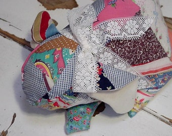 Patchwork Lop Eared Bunny Shabby Feedsack Country Rabbit Animal Cottage Chic Easter Home Decor Pillow Stuffed Bunny itsyourcountry