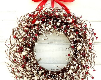 Valentine's Day Wreath-Winter Wreath-Summer Door Wreath-RED & WHITE Door Wreath-Winter Home Decor-4th of July Door Decor-Home Wall Decor