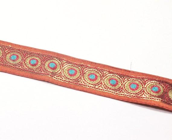 Sequinned Embroidered Fabric Ribbon Trim-Silk Sari Trim-Gold & Rust Color Silk Fabric-Silk Ribbon-Sari Border Trim-By The Yard