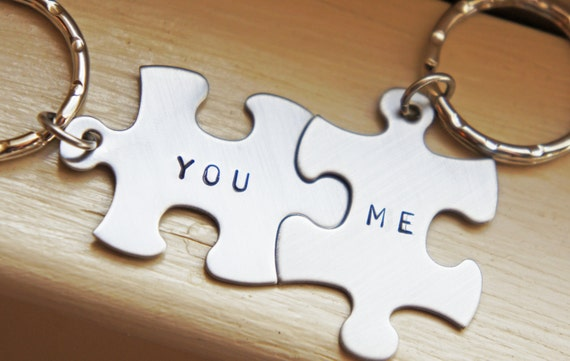 personalized puzzle piece keychain custom couple best friends