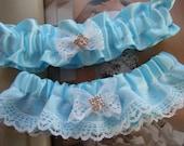 Beautiful Blue Satin with White Lace Garter Set
