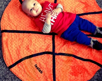 Custom Toddler/Baby Basketball Blanket with your choice of NBA team fleece backing