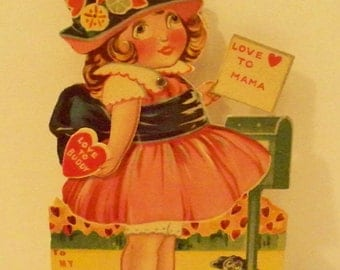 Antique Die Cut Mechanical Valentine Card Google Eyes Love To Mama or Love To Buddy Made In Germany