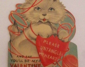 Vintage Valentine Card Die Cut 1940's Playful Kitten With Ball of Yarn Untangle My Heart