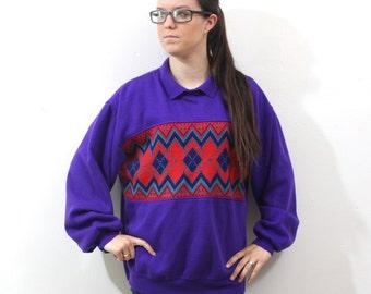 CLEARANCE Vintage Retro Purple Argile Aztec Navajo Style Sweatshirt Large