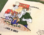 Vintage Decorative Linen cotton blend Tea Kitchen Towel Ireland Cartoon Kitschy what every european should be