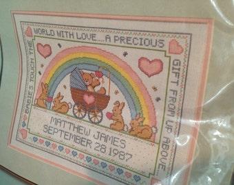 Baby announcement Cross stitch KIT unopened complete bunny rainbow Bernat with DMC floss