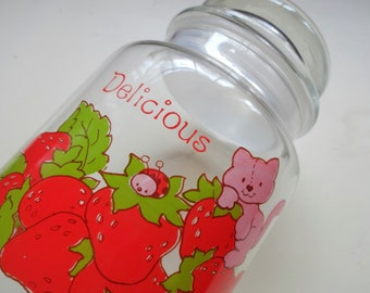 Vintage Strawberry Shortcake Glass Canister 1980