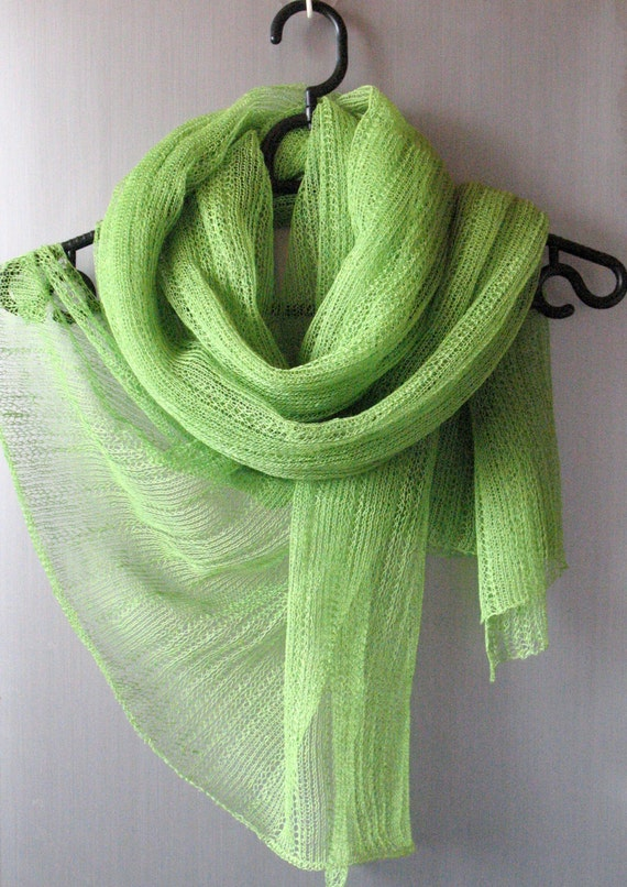 Green Linen Scarf Shawl Wrap Stole Salad Light, Transparent