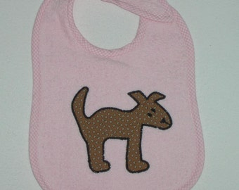 Dog Toddler Bib - Dog Applique Pink Terrycloth Toddler Bib