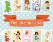 Personalized Name Prints Sets for boys and girls. Choose Your Own Set of 5 Prints. 5x7