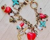 Queen - Western Cowgirl Red & Aqua Turquoise Heart Cross Rhinestone Crown Pistol Dress Vintage Bronze Chunky Charm Bracelet
