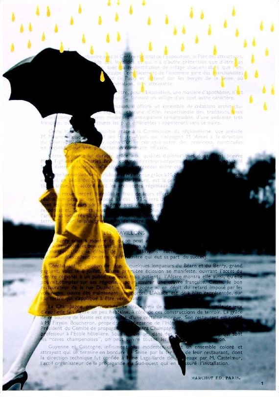 RAIN IN PARIS giclee print poster mixed media painting illustration drawing