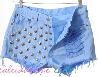 Vintage Levis 501 Pastel Dyed  DESTROYED Denim High Waist STUDDED Cut Off  Shorts XL