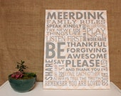 "Personalized Family Rules Canvas - 16"" x 20"" on choice of fabrics - 1 3/8"" depth canvas"