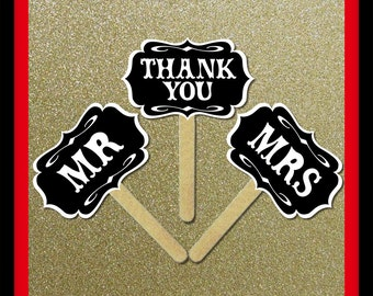 Mr and Mrs Thank You PhotoBooth Props Signs - 3 Piece Set - Wedding Party Photo Booth Props