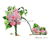 Shoe Print SHIPS FREE - Polka Dancing Hydrangea Shoe - Signed and Enhanced with Watercolor